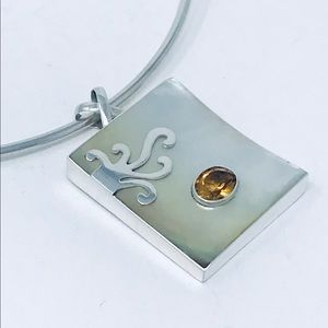Jewelry - Citrine & Mother of Pearl Sterling Silver Pendant